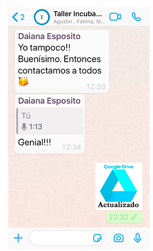 Stickers en el grupo de Whatsapp