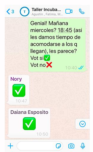 votación en el grupo de Whatsapp